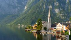 Morning shot of Hallstatt - beauty of Alps. Austria Stock Footage