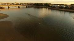 4K Aerial Footage: Stunning Leisurely River Scene - stock footage
