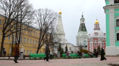 On the territory of the Holy Trinity St. Sergius Lavra Stock Footage