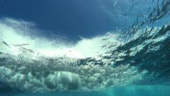 Underwater Angle of Tropical Blue Ocean Wave Crashing Stock Footage