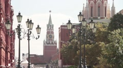 View of the Spasskaya tower  facing the Red square Stock Footage