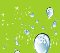 Abstract green background with Water drops, rain and stars - stock illustration