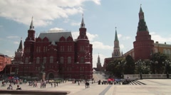 The view from the Manege square on State  the historical Museum Stock Footage