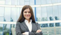 Portrait of a beautiful, attractive successful businesswoman - stock footage