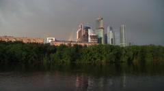 River. Rainbow. Business center Moscow city Stock Footage
