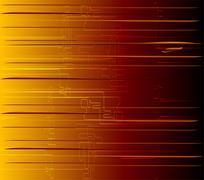 Abstract technology strips orange background - stock illustration