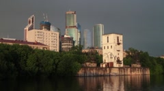 River. Bad weather. Business center Moscow city Stock Footage