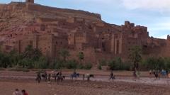 Desert and Kasbha Aït Ben Haddou in Morocco Stock Footage