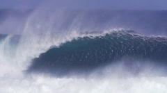 Slow Motion Giant Ocean Wave Breaking - stock footage
