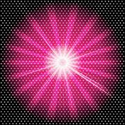 Burst rays dark purple background with halftone - stock illustration