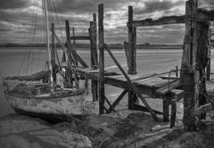 Monochrome of old boat wreck at Skipool Creek, Fleetwood Stock Photos
