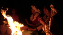 The night in the middle of the Tuareg with a campfire and the music Stock Footage
