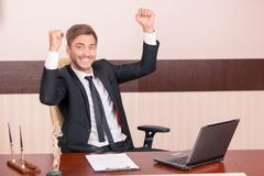 Smiling lawyer feeling thrice happy Stock Photos