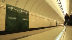 Trubnaya metro station. The arrival of the train - stock footage
