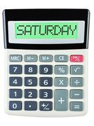 Calculator with SATURDAY - stock photo