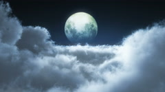 night fly moon 4k - stock footage