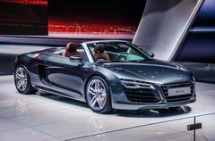MOSCOW, RUSSIA - AUG 2012: AUDI R8 SPYDER V10 presented as world - stock photo
