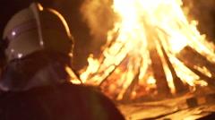 Slow motion of firemen - stock footage