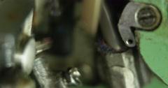 Working Vintage green overlock sewing machine. Stock Footage