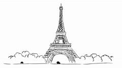 Eiffel Tower - White Background Stock Footage