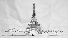 Eiffel Tower - Paper Background Stock Footage