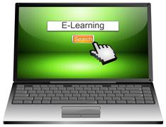 Laptop with internet web search engine e-learning Kuvituskuvat