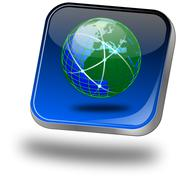 Button with Globe - stock photo
