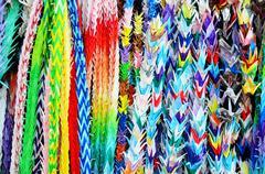 Traditional Japanese Thousand origami cranes for japan call Senbazuru Kuvituskuvat