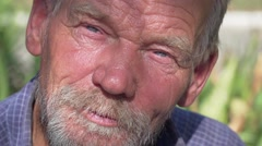 Old man with a beard Slow Motion Stock Footage