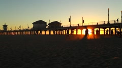 Huntington Beach Pier Sundown (California) 05 Stock Footage