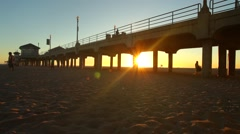 Huntington Beach Pier Sundown (California) 01 Stock Footage