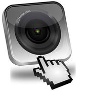 Photo camera Button with cursor - stock photo