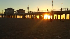 Huntington Beach Pier Sundown (California) 03 Stock Footage