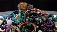 Stock Video Footage of Pile of Jewelry with vintage bracelet 4k