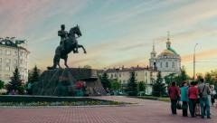 Monument to General Yermolov, Orel city, Russia Stock Footage