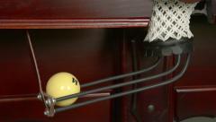 Billiard balls falling in a billiard pocket. - stock footage