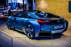 MOSCOW, RUSSIA - AUG 2012: BMW I8 CONCEPT SPYDER presented as wo - stock photo