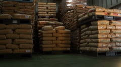 Bags of rice in warehouse Stock Footage