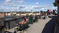 People looking at Stockholm city from a high view -sweden Stock Footage