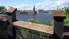 View from a mountain over the city of Stockholm  sweden Stock Footage