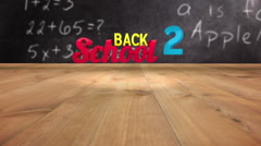 Back to school graphic falling in classroom Stock Footage