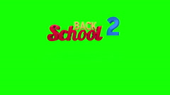Back to school graphic falling against green screen - stock footage