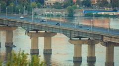 Bridge at dusk, Kiev, Ukraine - stock footage