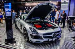 MOSCOW, RUSSIA - AUG 2012: MERCEDES-BENZ SLS AMG ROADSTER BRABUS - stock photo