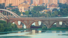 Bridge at dusk, Kiev, Ukraine - stock footage