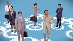 Business people standing on moving cogs and wheels Stock Footage