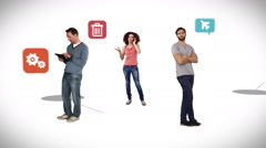 Casual people standing on connecting lines with app icons Stock Footage
