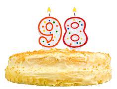 birthday cake candles number ninety eight isolated - stock photo