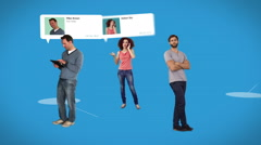 Casual people standing on connecting lines with profile info Stock Footage