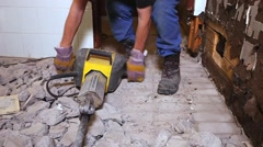 The floor demolition in a washroom - stock footage